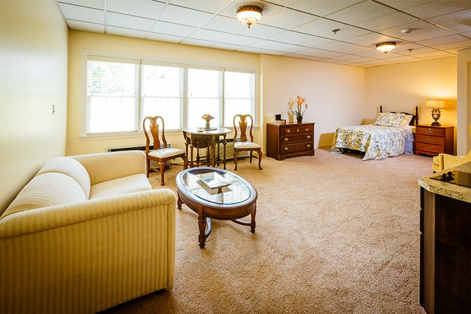 Bright apartment in the assisted living building.