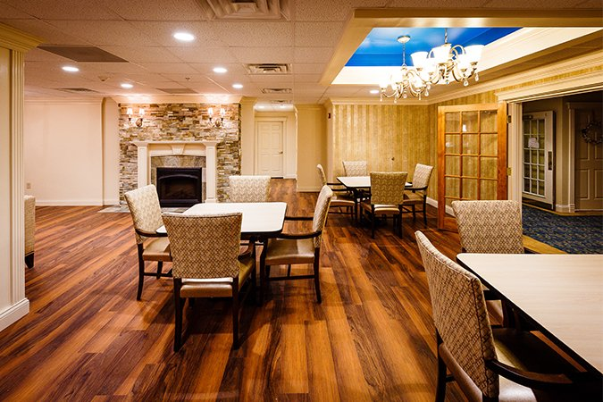 Dining room for assisted living residents
