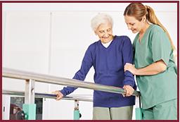 Caretaker assists patient