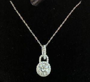 """Ladies Day Out Raffle Prize Diamond Pendant 14K White Gold Round Diamond .90ctw 18"""" Chain"""
